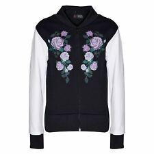 Kids Jacket Girls Floral Print Bomber Zip Up Biker Jackets MA 1 Coat 5-12 Years
