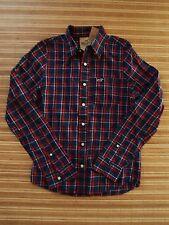 NEW ..Hollister.. Men's Plaid Shirt .. Size M   Navy / Red