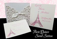 Paris Theme Laser Cut Pocket w Insert Quinceanera Sweet sixteen Quince Invites