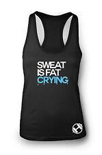 Sweat is Fat Crying Ladies Gym Vest Women Racerback Yoga Workout Vest Tank