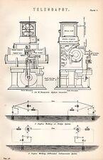 Impresión De 1880 ~ telegrafía Sir W. Thomson's Sifón Grabadora Dúplex Puente de trabajo & C