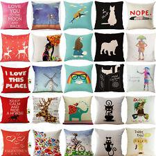 Cartoon Cute Pattern Cotton Linen Pillow Case Cushion Cover Home Decor