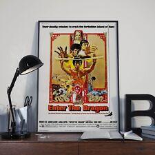 Introduce el dragón de película de Bruce Lee Kung Fu Artes Marciales imagen de póster de impresión A3 A4