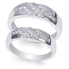 JamesJenny Couple White Gold Plated Round CZ Ring Set Size 4-12