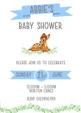 Disney Bambi Baby shower boy invitations Personalised Blue