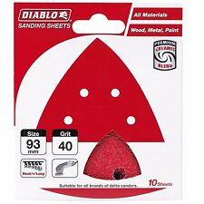 Diablo ABRASIVE DETAIL SANDER SHEETS 93x93mm 10Pcs Red - 40, 80, 120 Or 240 Grit