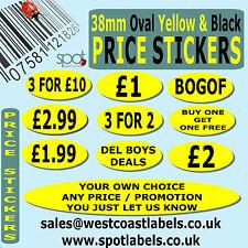Self Adhesive Price Stickers,  Bright Yellow, 99p £1 £2 £5, ANY PRICE REQUIRED