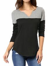 Women Split V-neck Long Sleeves Color Block T-Shirt