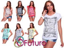 Casual Women's T-Shirt City Views Palms Print Boat Neck Top Sizes 8-14 FB270