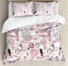 Eiffel Tower Duvet Cover Set with Pillow Shams Paris Honeymoon Print