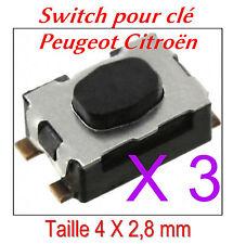 3x Interruptor botón para control remoto llave plegable plip Peugeot 207 307 407