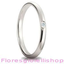 Fedina in argento con brillante Cubic Zirconia bianco, vari colori disponibili