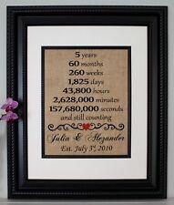 Fifth Anniversary - Wedding Anniversary - Personalized - Burlap Wall Art