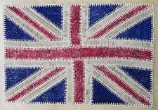 vintage Overdyed red blue us flag Turkish Patchwork handmade Carpet rug