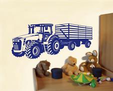 Wandtattoo Traktor mit Anhänger Trecker Kinderzimmer Aufkleber 25 Farben 8 Größe