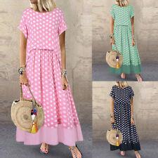Plus Size Women Short Sleeve Polka Dot Fake Dress 2 Pieces O-Neck Maxi Dresses