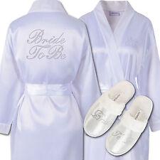Rhinestone Bride To Be Satin Bathrobe & Spa Slippers Set Kimono Dressing Gown