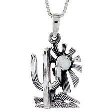 "Sterling Silver Cactus Desert Pendant / Charm, 18"" Italian Box Chain"