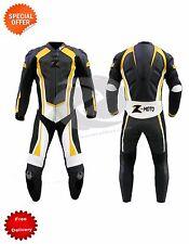 NOIR JAUNE Combinaison de moto cuir une pièce ou deux pièces costume Any taille