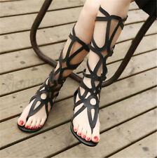 Mujer Altura Rodilla Rodilla Botas Planos Roma Gladiador Sandalias Zapatos