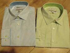BNWT Jhane Barnes Mens Non-Iron Striped Shirts 100% Cotton Collar Size 15-18