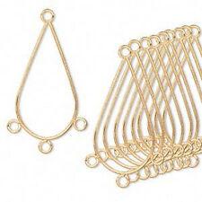 Gold Teardrop Chandelier Finding Pendant Jewelry Lot of 12