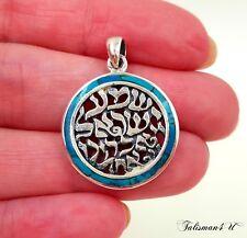 Malachite Shema Israel Kabbalah Necklace 925 Sterling Silver Pendant Judaica New