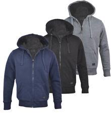 Mens Hooded Sherpa Fur Lined Padded Fleece Jacket Coat Plain Full Zip M-XXL