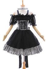 M-3308 S/M/L/XL/XXL STRETCH Gothic Punk Lolita karo Kleid Kostüm dress Cosplay