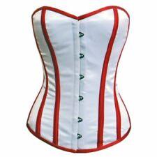 White Satin Red Strips Burlesque Waist Training Bustier Overbust Corset Costume