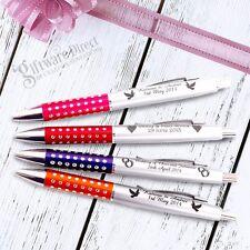 Personalised Engraved Sparkle Plastic Pen Wedding Favour Promotional Bomboniere