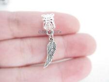 Cute Dainty Mini Silver Tone Angel Wing Dangle Slider Charm Fits Euro Bracelets