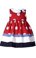 Bonnie Jean Girls Nautical Sailor Dress Polka Dots Red White Blue Baby New