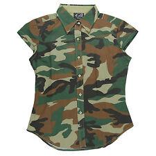 trutus biancarra filles camouflage col bouton bas chemise manche courte