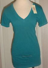 Ladies Decree Ocean Drama Green Short Sleeve V-Neck T-Shirt Juniors XS, M