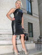Lederkleid Leder Kleid Schwarz Knielang One-Shoulder Größe 32 - 58 XS - XXXL