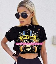 New Women Ladies Cotton Skull  Print Holes Crop Top Short Sleeve Tee Shirt