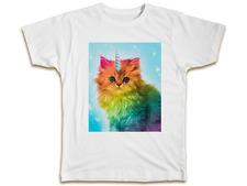 Unicorn Rainbow Cat T-Shirt - Funny Kitten Unisex Men Women Top Birthday Gift
