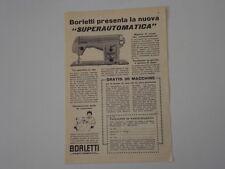 advertising Pubblicità 1956 MACCHINA PER CUCIRE BORLETTI