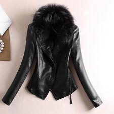 Women Faux Leather Lined Jacket Coat Fur Collar Biker Bomber Motorcycle Black