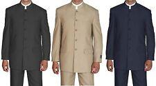 Men's Mandarin Collar Pin Stripe Church Suit Style 925H by Fortino Landi