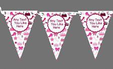 Rosa Niñas Bolsos Zapatos Princesa Personalizado Fiesta De Cumpleaños Bunting