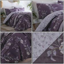 Plum Purple Duvet Cover Pretty Delicate Floral Trail Reversible Quilt Cover Set