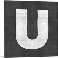 ARTCANVAS Chalkboard Alphabet Letter U Canvas Art Print