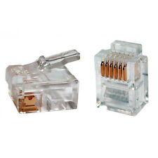 Lot 1-100 RJ11 Connecteur telephonique 6pins 6P6C generique 6/6 Male Transparent
