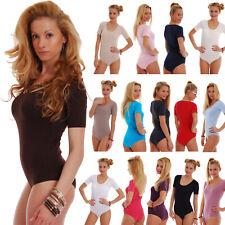 Women Cotton Bodysuit Round Scoop Neck Short Sleeve Bikini S-3XL 1445 Leotard EU