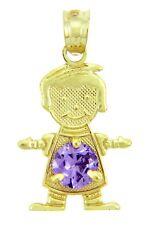 Yellow Gold February Birthstone Light Purple Amethyst CZ Baby Boy Charm Pendant