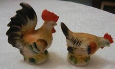 Vintage Hen Rooster Figural Salt & Pepper Shakers Japan