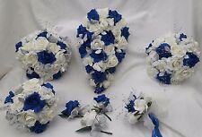 Wedding flowers Ivory/blue rose silver crystal Bride, Bridesmaid, Flowergirl