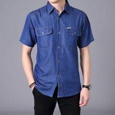 Mens Denim Shirt Cotton Working Jean Top Baggy Casual Short Sleeve Plus Size Tee